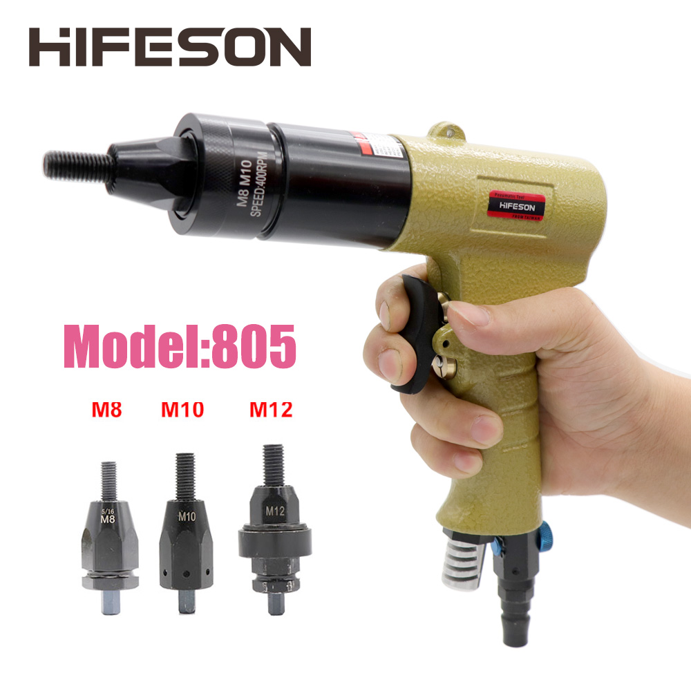 HF-805 M8 M10 M12 Pneumatic Air Rivet Nut Guns Insert Threaded Pull Setter Riveters Riveting Nuts Rivnut Tool For Nuts