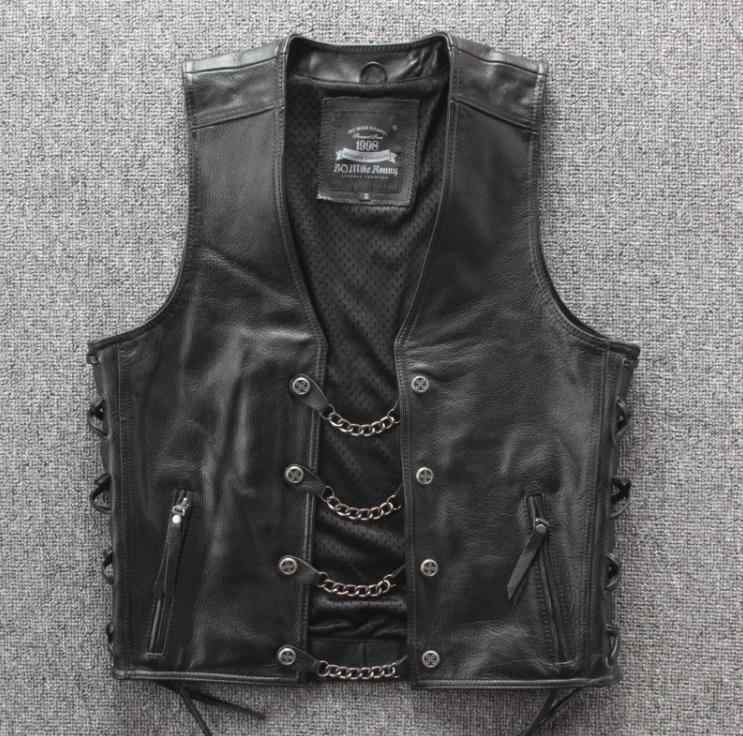 BONJEAN Mens Genuine Leather Rock Vests Metal Chain Biker Vest Motorcycle Sleeveless Real Leather Jackets Adjustable Lacing