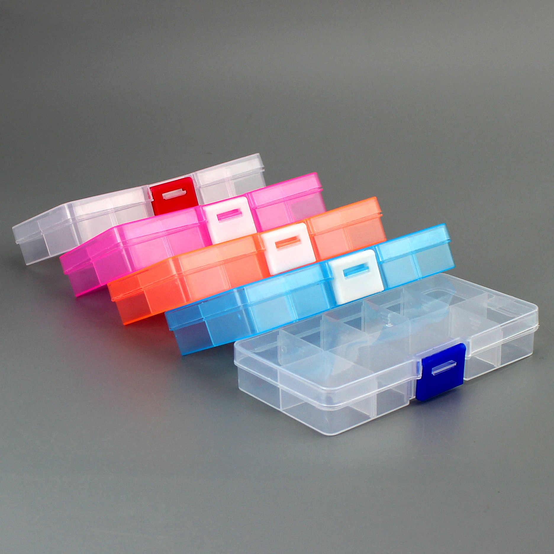 10 Slots Cells Colorful Portable Jewelry Tool Storage Box Container Ring Electronic Parts Screw Beads Organizer Plastic Box