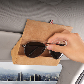 1pcs 4 colors Car Glasses Box Storage Holder Sunglasses Case Custom LOGO For Your Car No Affect Mirror Protect Sunglasses women image