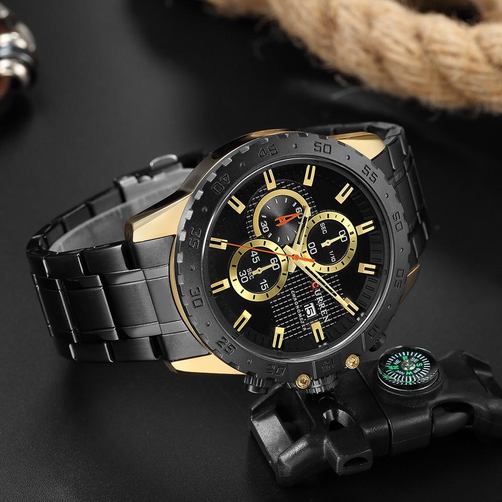 Relógios à Moda Relógios de Quartzo Pulseira de Aço Novos Curren Elegante Esportes Masculinos Nice Looking Chronograph Relógios Preto 8334 2020