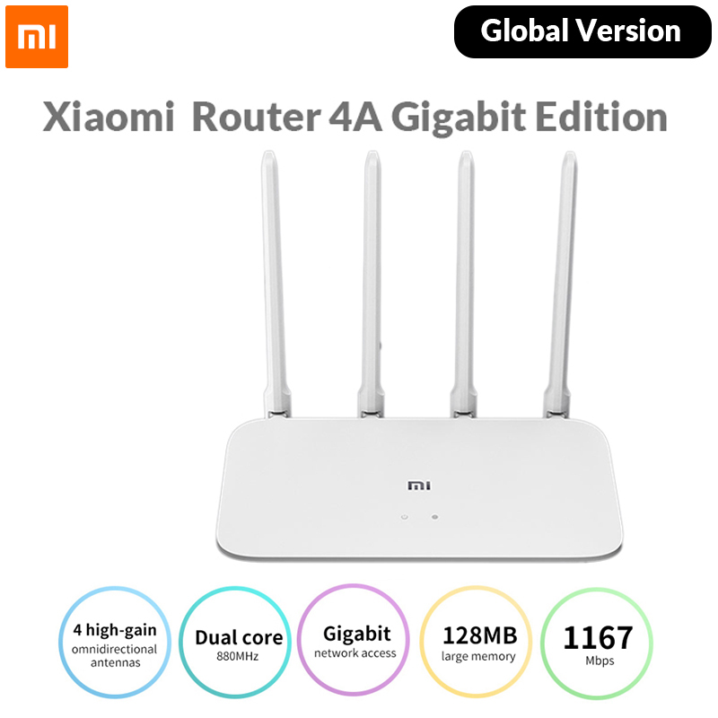 Глобальная версия Xiaomi Mi роутер 4A Gigabit Edition 100 м 1000 2,4 ГГц Wi-Fi 5 ГГц DDR3 64MB 128MB 4 антенны APP управление