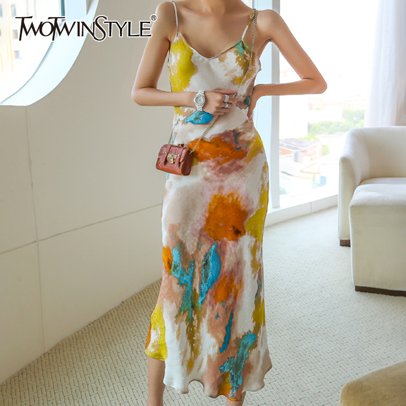 TWOTWINSTYLE Print Vintage Dress For Women Square Collar Spaghetti Strap High Waist Slim Dresses Female 2020 Autumn Fashion New