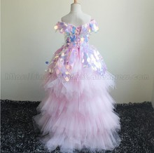 Wholesale Pink Sequin Short Sleeve High Low Lace Up Back Flower Komunia Kids Wedding Dresses