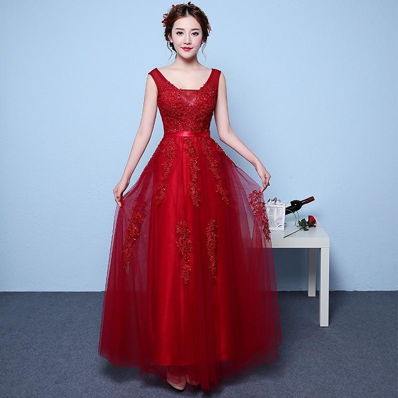 Dress Elegant Women Red Sleeveless V-neck Lace Appliques Draped Long Prom Dress Champagne Wedding Party Dresses For Women