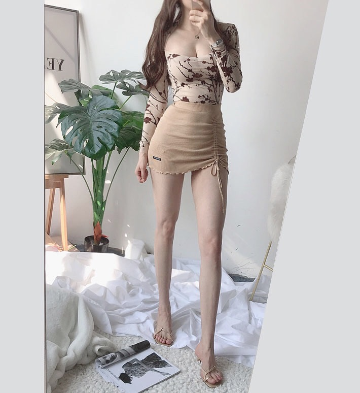 H9f0f7ca000eb401b923540a7969b03b9v - XIBANI Irregular high waist elastic short skirt tight package hip side drawcord knitted mini skirt sexy fashion street