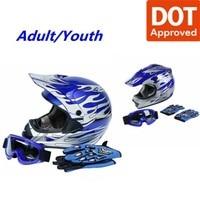 DOT Dirt Bike ATV Motocross Helmet w/ Gloves + Goggles Adult / Youth cascos para moto kask motocyklowy full face Off-Road Helmet 1