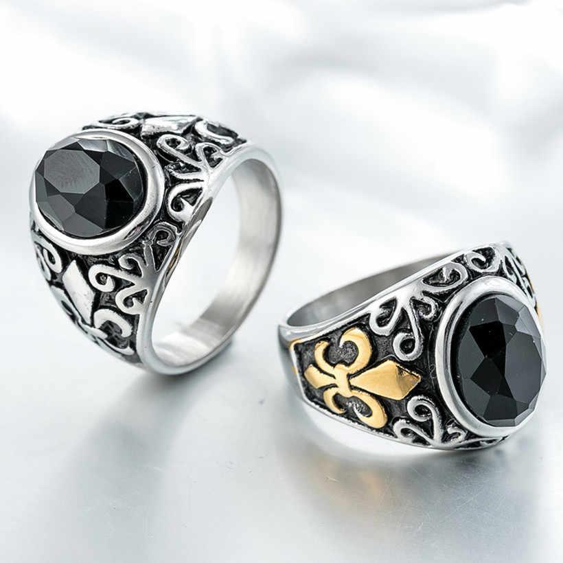 الرجال الأسود الأحجار الكريمة التيتانيوم خاتم الذكور الذهب والفضة لهجة الفولاذ المقاوم للصدأ العتيقة الثمينة حجر عقيق signet مجوهرات حجم 7-12