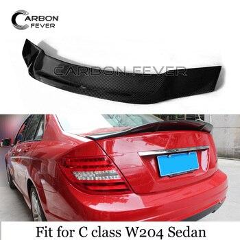 W204 Real Carbon Fiber Rear Trunk Spoiler For W204 C class Sedan 2007 - 2014 UV-Cut OEM Fitment High Gloss Finish f26 suv rear trunk lip genuine carbon fiber gloss black back wings spoiler for bmw x4 2014 xdrive20i xdrive28i xdrive35i