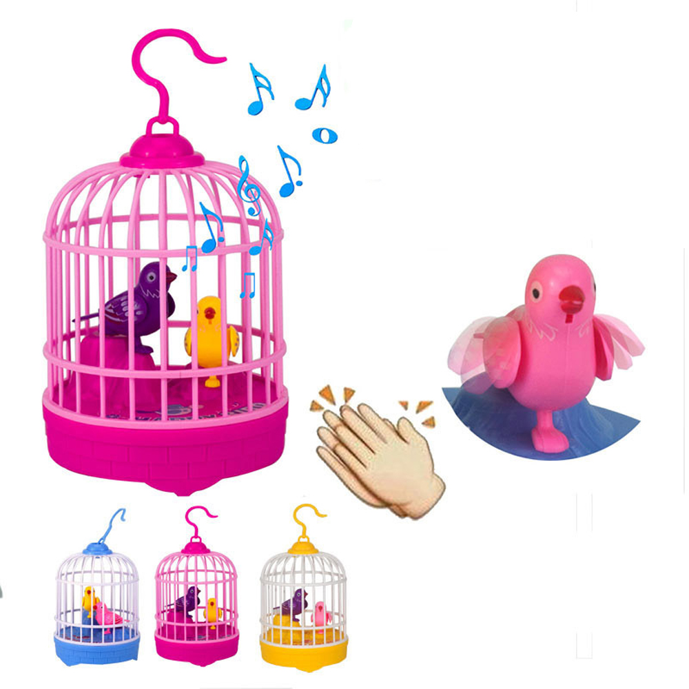 Mini Bird With Cage Voice Control Electronic Toys For Children Novelty Induction Toy Funny Simulation Bird Singing Kids Toys