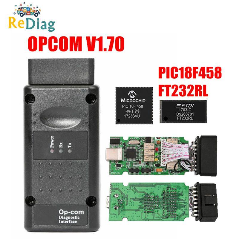 Carro Scanner De Diagnóstico OP com para Opel V1.70 OBD2 OP-COM Real PIC18f458 OPCOM para Opel Ferramenta de Diagnóstico Do Carro Flash de Firmware