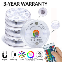 16 Colors Submersible 13 Led Light with Suction Cup for Outdoor Pond Fountain Vase Garden Swimming Pool Underwater Night Lamp