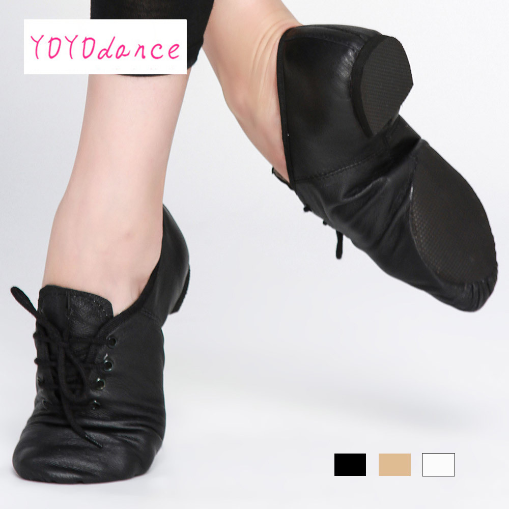 Black Tan Lace Up Geniune Pig Leather Dancing Shoe From Children To Adult  Quality Oxford Jazz Dance Shoes