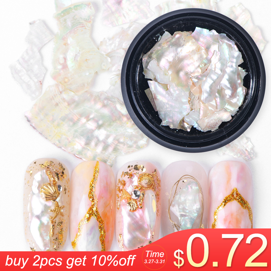 1Box Nail Decorations 3D Shiny Abalone Pearl Shell Slice Flake Nail Art Stones Charms Spangles Tips Manicure Accessories LA791