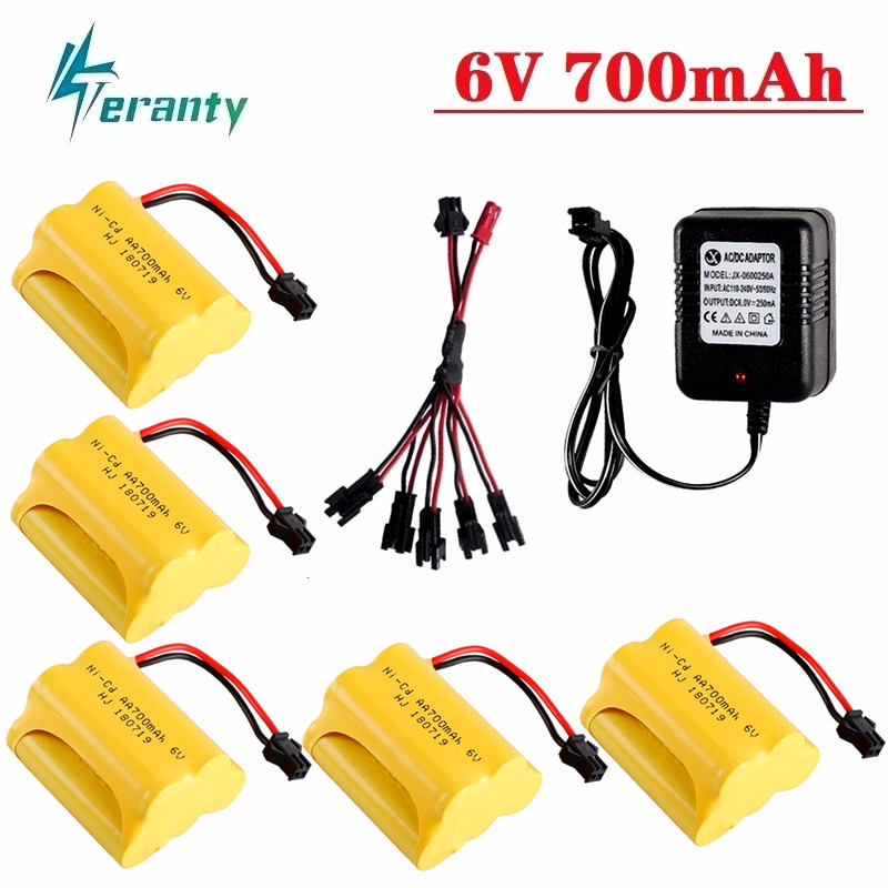 Upgrade 6v 700mah NiCD Battery And Charger For Rc Toys Cars Tanks Truck Robots Guns Boats AA Ni-CD 6v Rechargeable Battery 1 Pcs