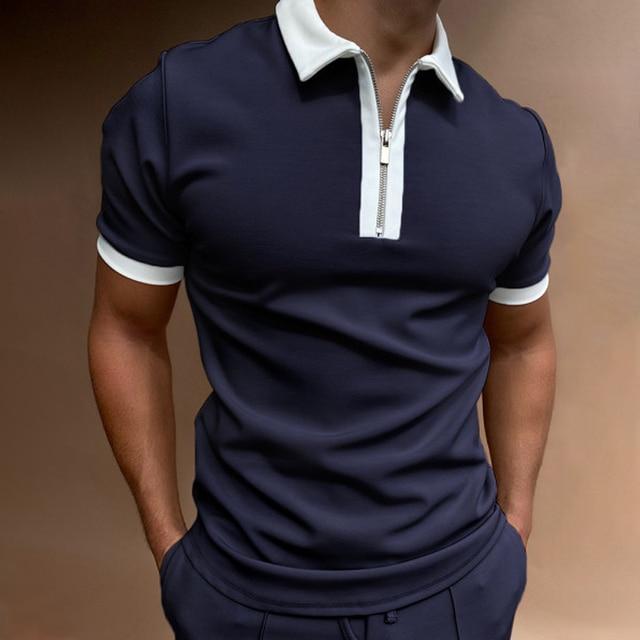 Fashion Plaid Men Short Sleeve Polo Shirts Casual Turn-down Collar Zipper Design Brand Tops 2021 Summer Polo Business Clothes 4