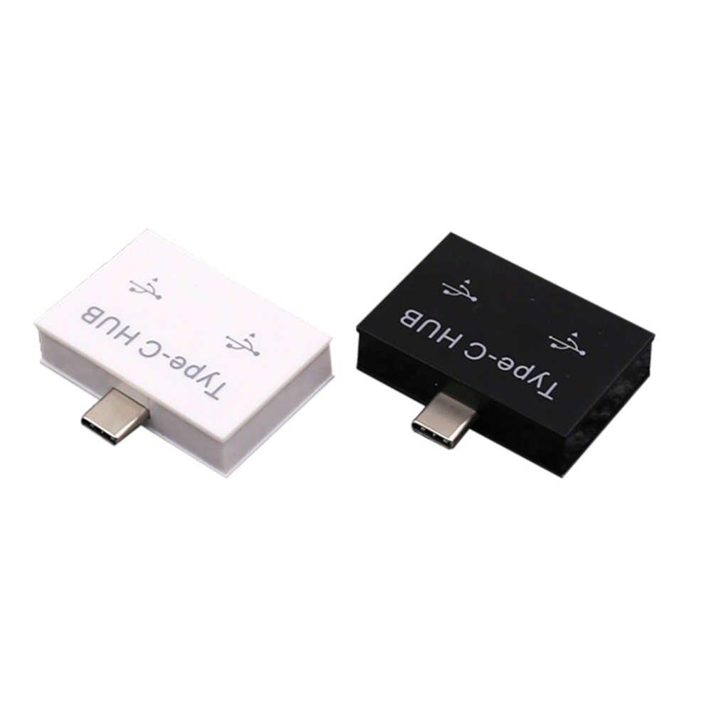 Type-C к USB разъему переносной USB3.1 type-C 2 портовый Разветвитель USB 3,0 OTG концентратор пластиковый адаптер для сотовый телефон, ПК компьютер планшет
