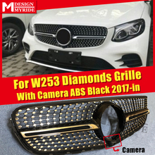 front grille suitable for glc class w253 gtr 2015 2018 x253 glc200 glc250 glc300 glc450 glc63 grille without central logo For MercedesMB W253 GLC Class Sport Grills Diamond Grille With Camera GLC250 350 400 ABS Black Front Grille Without Sign 2017-in