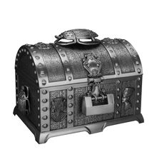 2 Layers Egyptian Style Beetle Vintage Jewelry Box with Lock Metal