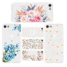 Phone Case for iPhone XR 8 7 6 6s Plus XS MAX X Candy Transparent Soft TPU Silicone Leaf Flower For 5 5S SE