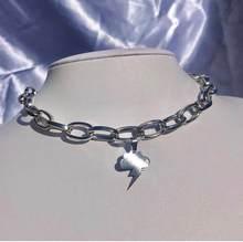 Nova ins hip-hop aço inoxidável metal anjo carta colar nuvem relâmpago colares bloqueio gargantilha para mulheres moda jóias presente
