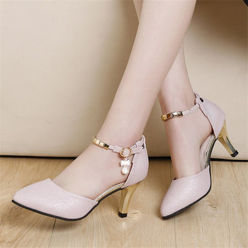 Pink/White Strappy Heels Party Sandals for Women Summer Shoes Woman Heel Sandal New Dress Shoes Womens Medium Heel Sandals womens ladies wedge sandals strappy high heels pu leather platform summer party shoes woman ankle strap sandal white black