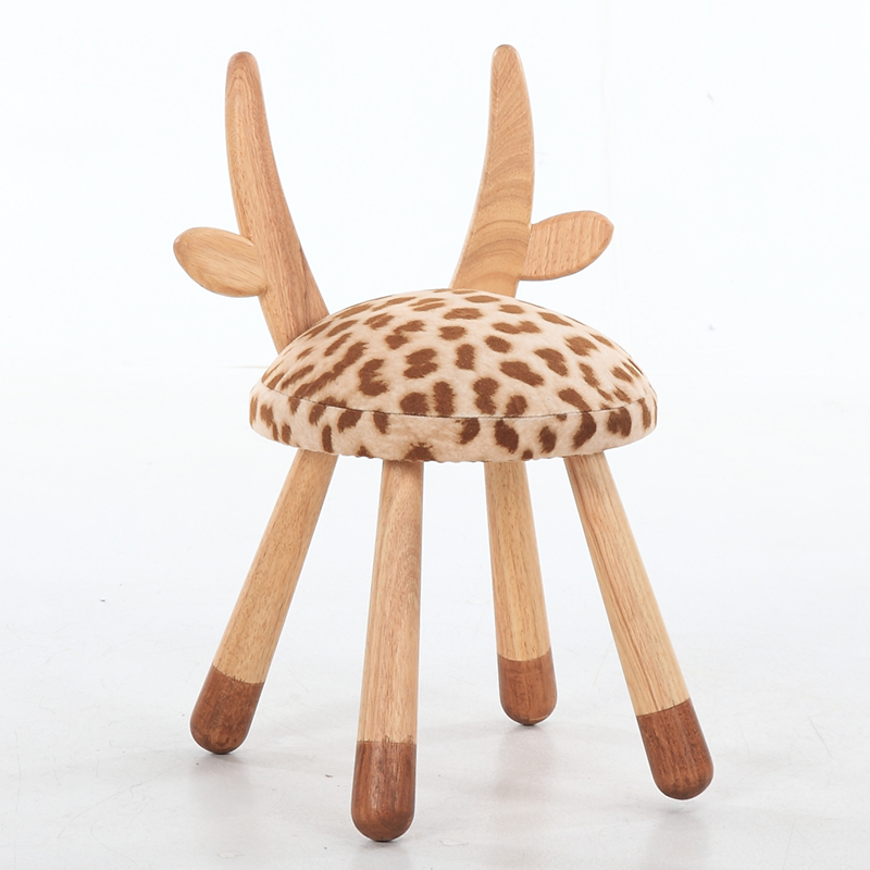 Nordic Solid Wood Creative Stool Child Stool Designer Furniture Baby Chair Removable And Washable Cute Stool Animal Stool