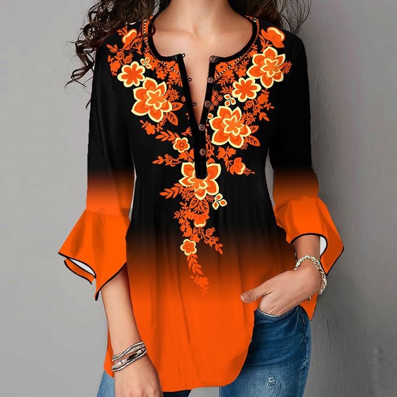 2021 Three Quarter Sleeve Vintage Plus Size Shirt Elegant Women V Neck...