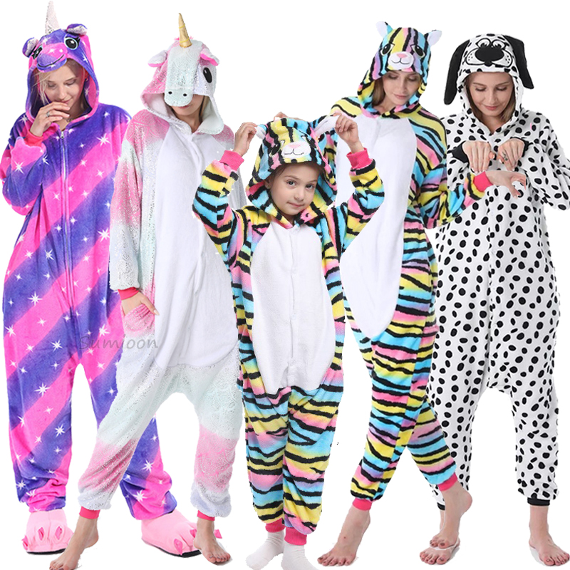 Animal Adult Kigurumi Panda Cat Unicorn Onesies Stitch Pajamas For Women Flannel Cosplay Costume Jumpsuit Pyjamas Kids Sleepwear