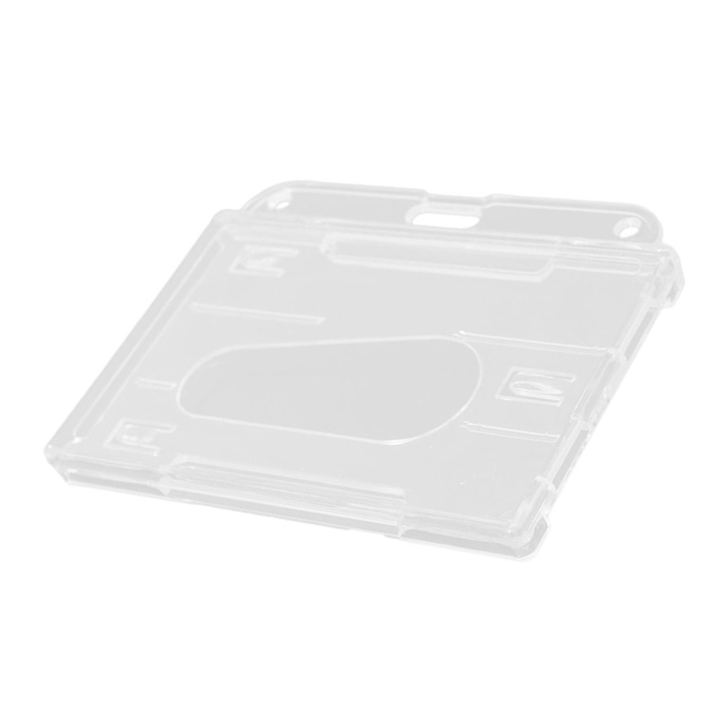 1Pcs Hard Plastic Double-faced Card Holder Transparent Clear Horizontal ID Badge Holders Card Cover Easy Access Thumb Hot Sale