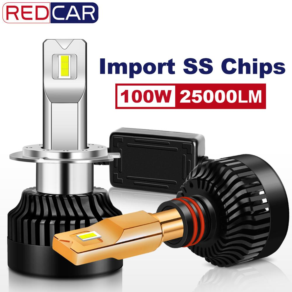 2pcs 25000LM 100W H7 Led Bulb SS Chips H1 H8 H11 9005 HB3 HB4 9006 H4 LED Headlight 9012 Mini Canbus Car Auto Lamp Turbo 12V