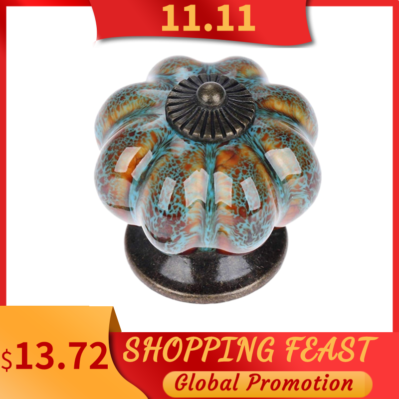 10Pcs/Set Ceramic Knobs with Colorful Knobs and Pumpkin Handles Drawer Ceramic Pulls for Cabinets, K