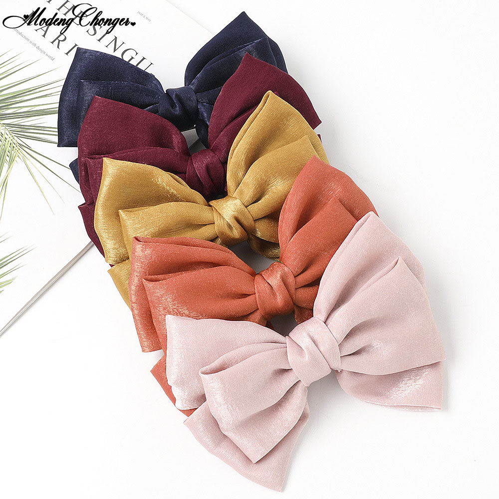 Solid Color Large Bow Barrettes Fashion High Quality Velvet Satin Hairclip Sweet Three-layer Hairpin Woman Girl Hair Accessories