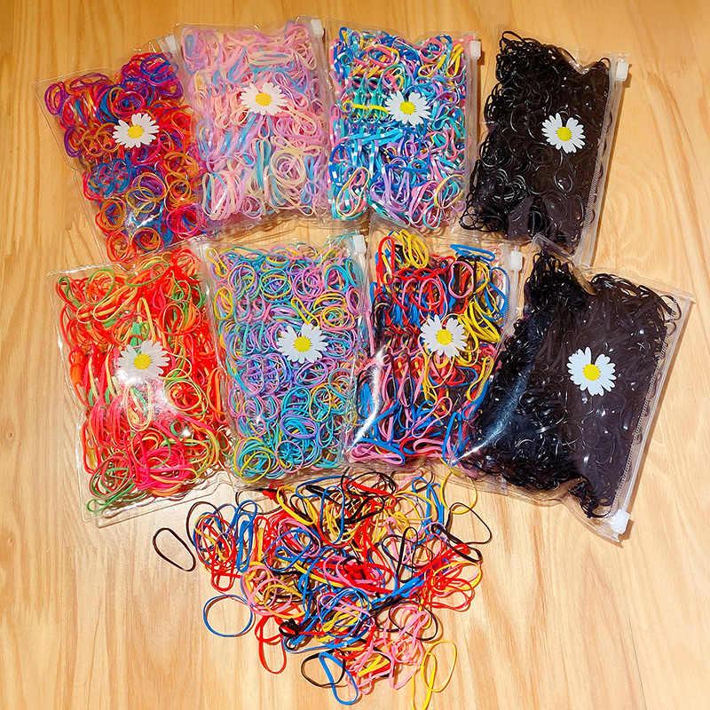 1000Pcs//Pack Coloré Petit Jetable Cheveux Bandes de jolies filles élastique en caoutchouc