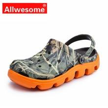 Beach Croc Shoes Men Summer Sandals Lightweight Massage Camouflage Flip Flops Gl