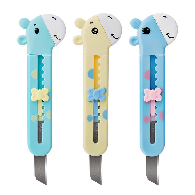 Students Knife 2022 Safe Cartoon Knife Color Deer Paper Cutter Office supplies classroom stationery