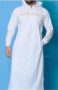 Image 3 - Men Jubba Thobe Arabic Islamic Clothing Muslim Dress Saudi Arabia Long Robe Abaya Dubai Loose Blouse Kaftan Sweater Hoodies Tops