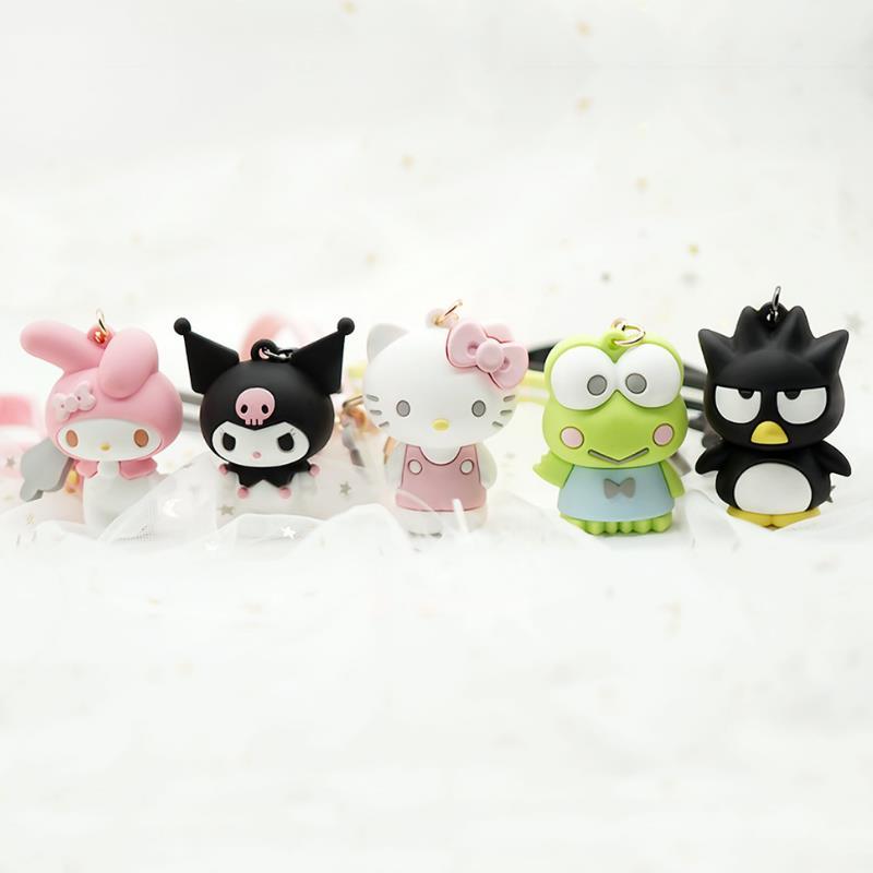 1 Pc Creative My Melody Pudding Cinnamoroll Dog Kuromi Keychain Bag Pendant Keyring for Girls Figure Toy-1