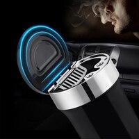 Auto Zubehör Universal Auto Aschenbecher Auto Kompass mit LED Licht Edelstahl Kreative Aschenbecher Flammschutzmittel Aschenbecher-in Auto Aschenbecher aus Kraftfahrzeuge und Motorräder bei