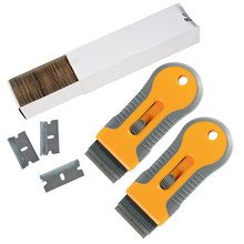 EHDIS Car Cleaning Razor Scraper With 100pcs Carbon Steel Blade Window Glass Tint Squeegee Vinyl Film Glue Sticker Remover Tools