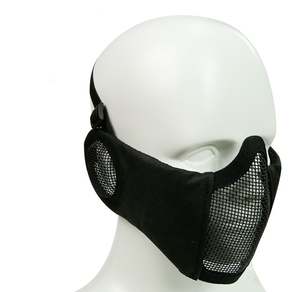 Foldable Tactical Half Face Protective Mask Mesh Lower Face Mask With Ear Protection For Military Paintball Hunting Airsoft