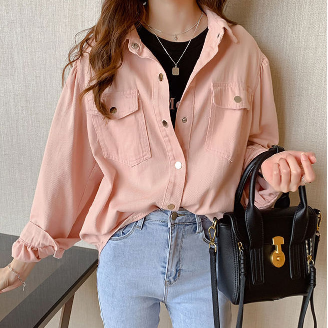 Women Tops Long Sleeve Casual Blouse Shirts With Two Pockets Pink White Blue Size S-XXL