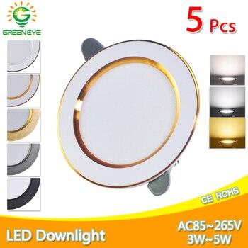 5Pcs Downlight 3W 5W 3000k 4000k 6500k led AC 220V-240V Kitchen living room Indoor recessed downlight