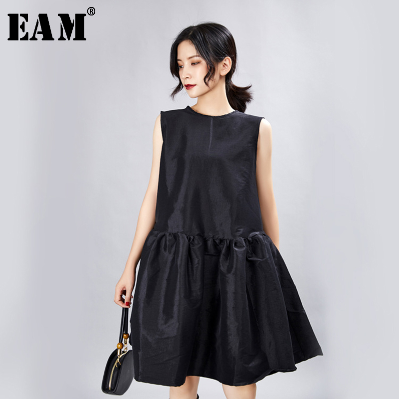 [EAM] Women Black Ruffles Split Temperament Dress New Round Neck Long Sleeve Loose Fit Fashion Tide Spring Summer 2020 JX337