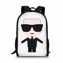ELVISWORDS Fashion Childrens Backpack Karl Lagerfelds Designer Pattern Kids School Book Bags Cartoon Women s Travel