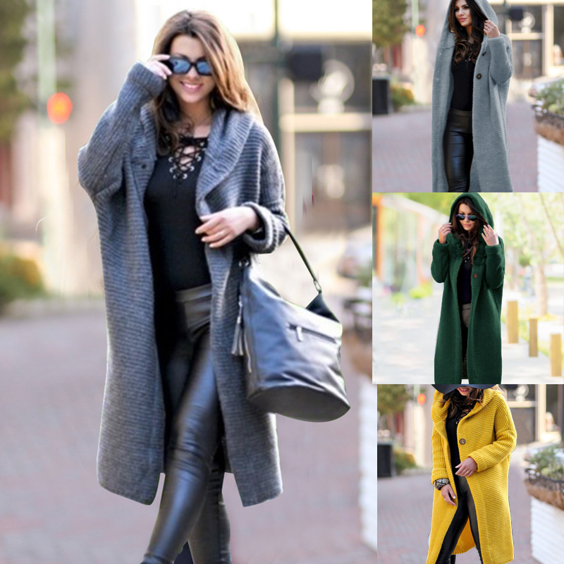 Women Cardigans Winter Casual Solid Loose Knitted Open Stitch Long Sweater Fashion Hooded Button Female Streetwear Cardigans