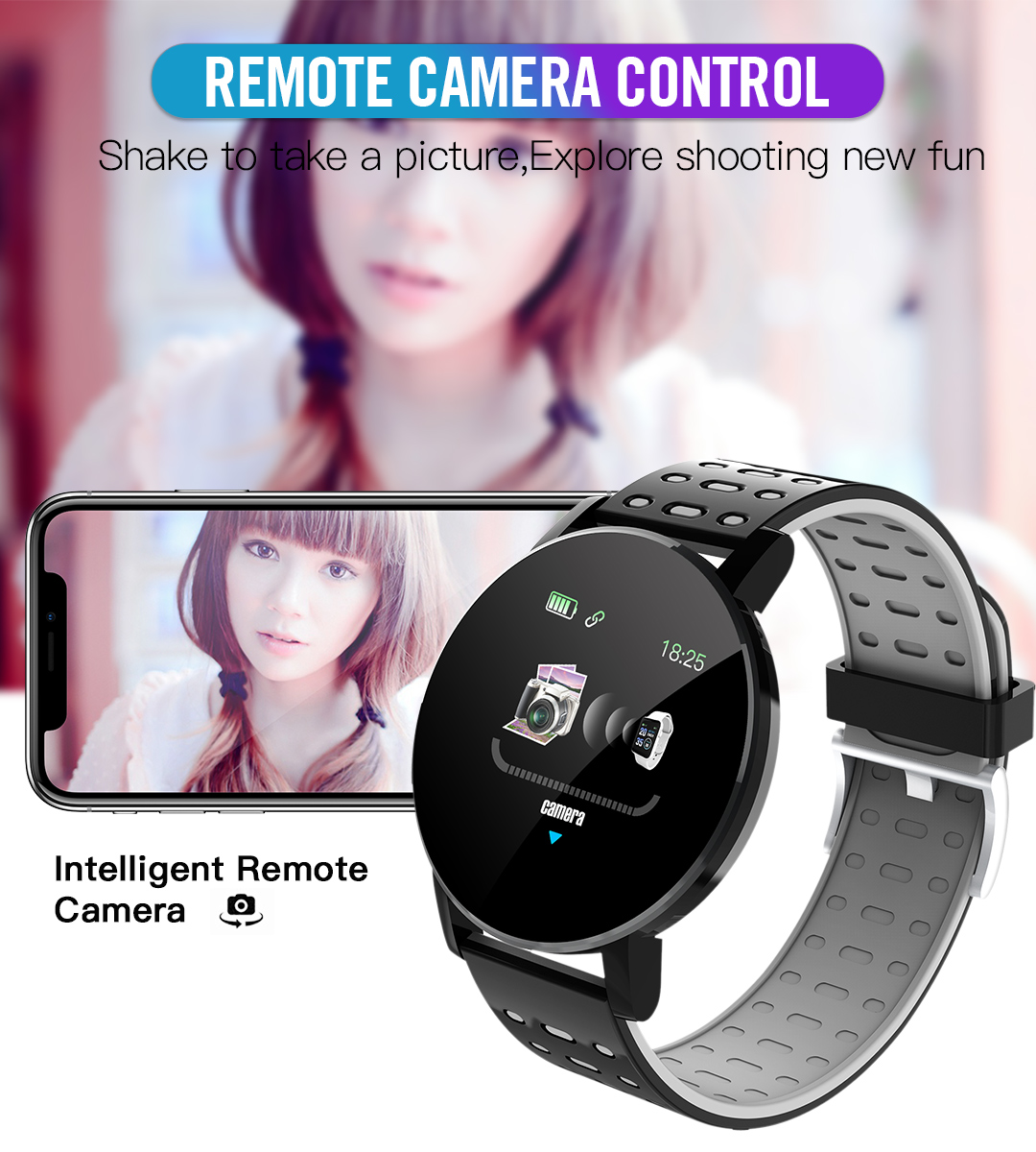 2020 119 Plus Smart Watch Men Women Blood Pressure Waterproof Sport Round Smartwatch Smart Clock Fitness Tracker For Android IOS 3