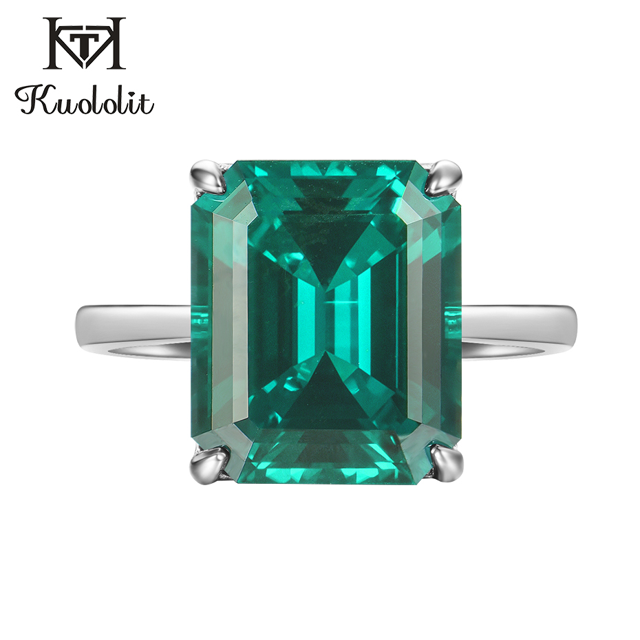 Kuololit Emerald Gemstone Rings For Women Real 925 Sterling Silver Emerald Cuttingg Ruby Handmade Engagement Bride Gift Jewelry