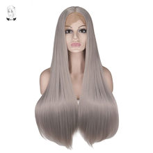 WHIMSICAL W Long Silky Straight Silver Grey Color Straight Wigs Lace Front Synthetic Wig for Women Natural Hand Tied Hair(China)