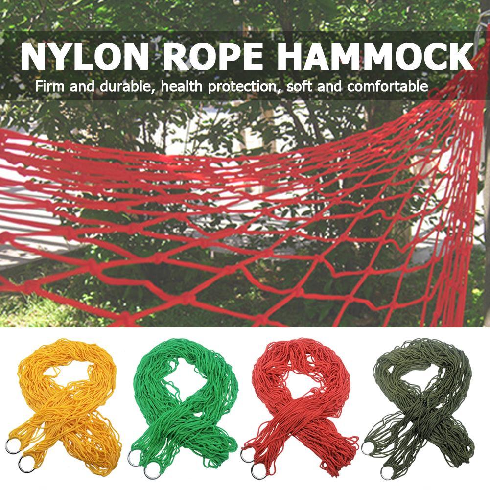 Portable Garden Hammock Nylon Hanging Bed Mesh Net Swing Sleeping Bed Outdoor Travel Camping Hammocks